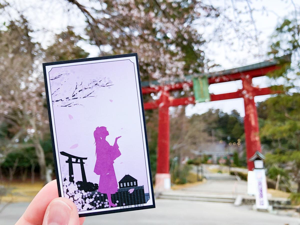 「鹽竈神社博物館」で配布している「竈札」。札にもあしらわれている志波彦神社の桜をバックに