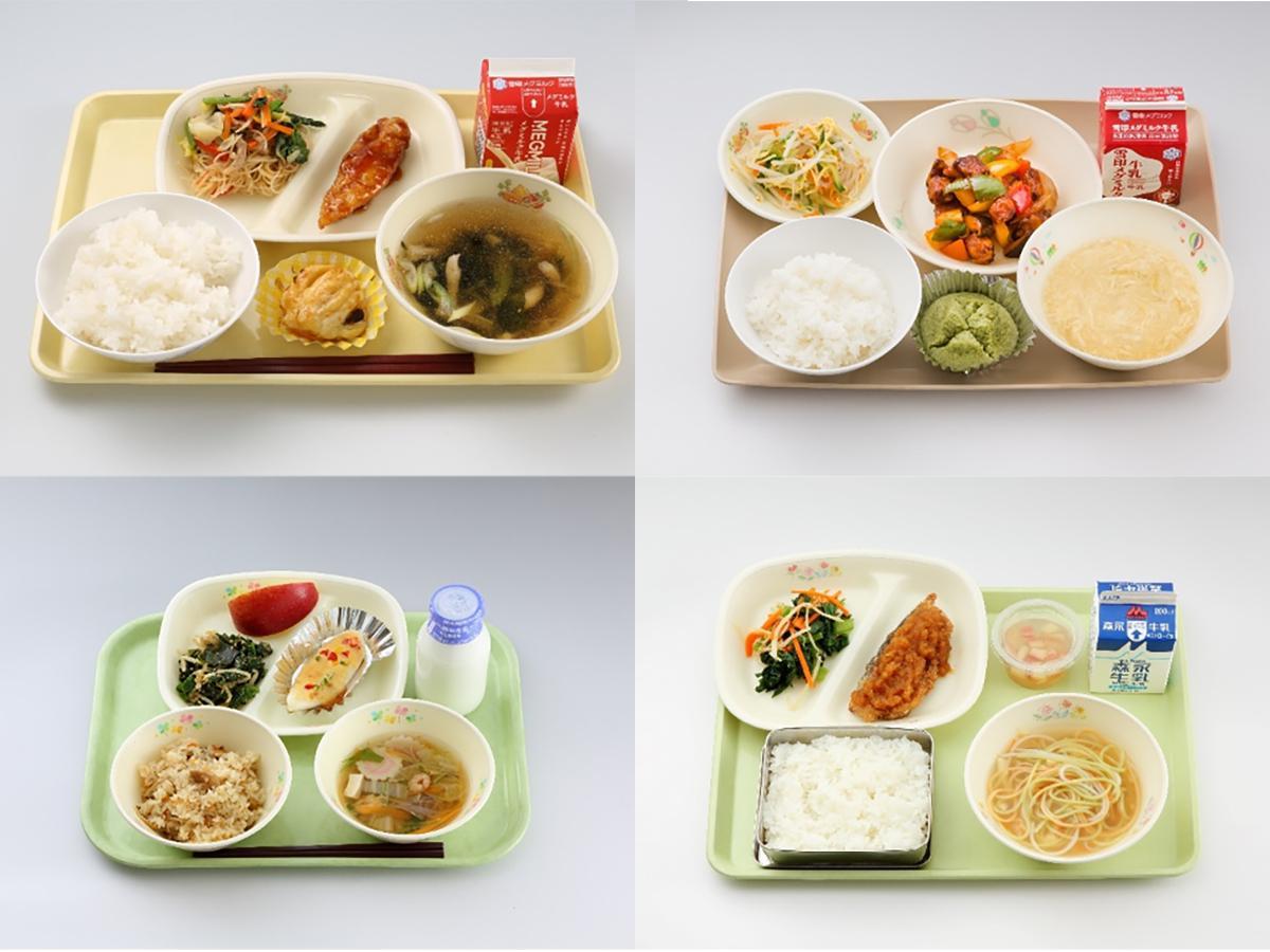 「宮城県学校給食『伊達な献立』コンクール」で知事賞を受賞した献立。左上から時計回りで第1回(21日提供)から第4回(26日提供)