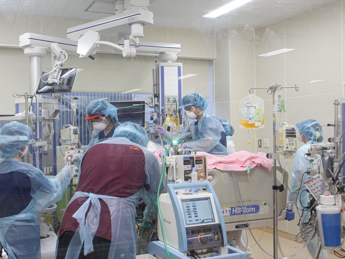東北大学病院でのエクモを使った治療の様子(写真提供=東北大学)
