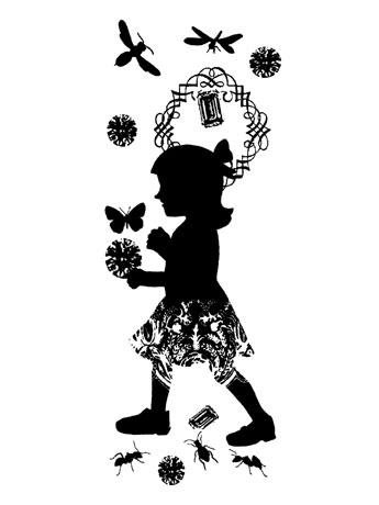 モノクロのシルエットで「幻想的」な世界を表現。会場はキャットストリート沿いのセレクト店「ギャラリー・デ・パン」