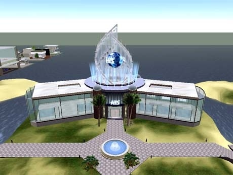 セカンドライフ内「H.I.S. タビスル」イメージ(施設正面)。海上に浮かぶ拠点内は近未来風の内装