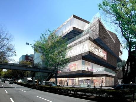 「MoMA Design Store」が入居するGYREビル外観。3階ウインドーには「MoMA」のロゴも
