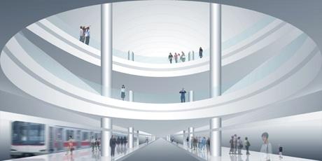 東急電鉄が開発を進める新「渋谷駅」のイメージ。デザインは安藤忠雄さんが担当(写真=安藤忠雄建築研究所提供)