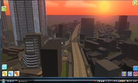 3Dバーチャルコミュニティー「meet-me」内のイメージ。東京の街をモデルにしている