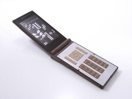 ドコモ「N705i」限定色(brownish wood)。内蔵コンテンツ、グラフィックデザインは「タイクーングラフィックス」が担当