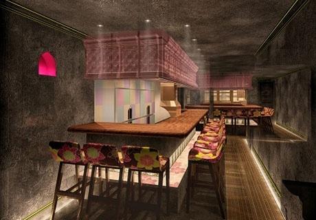 新型串揚げ店「GDF KITCHEN」店舗イメージ。内装はロンドン流行のテイストを取り入れた