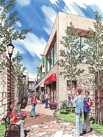 ビル内にオープンする商業施設「パサージュ青山」イメージ。施設は南欧の街並みをイメージ