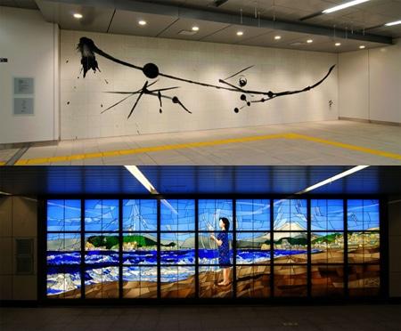 写真上=明治神宮前駅に設置される「希望」(武田双雲さん)、下=渋谷駅に設置される「海からのかおり」(大津英敏さん)