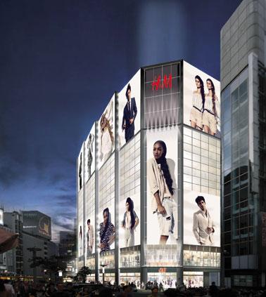 9月19日にオープンする「H&M」の外観イメージ。国内では初めてアンダーウエアも扱う