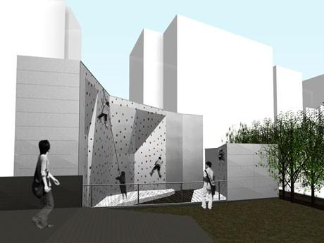 新宮下公園「宮下NIKEパーク」が始動。宮下公園交差点付近に新設予定のクライミングウォール