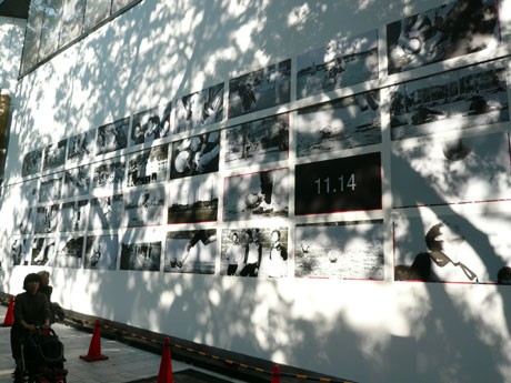 店舗外壁を使い開業前プロモーションを展開している「ナイキフラッグシップストア原宿」。写真は28日現在