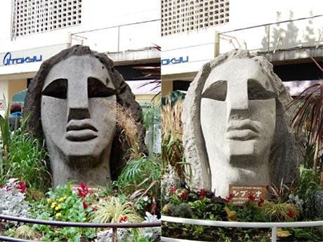 ルパン三世による「犯行前」のモヤイ像(左)と戻ってきたモヤイ像(右)。洗浄により30年前の白さを取り戻した