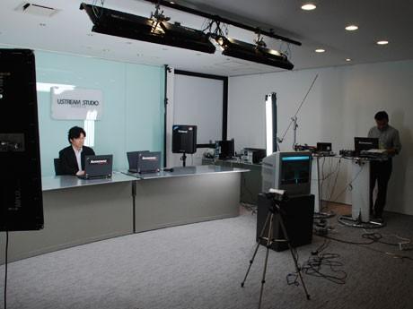 「USTREAMスタジオ渋谷」のメーンスタジオ。配信機材をはじめ、照明や回線なども無料で提供する