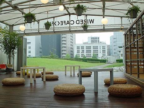 フィットネスを行う開放的なスタジオ空間。プログラム開催時以外はカフェスペースになる