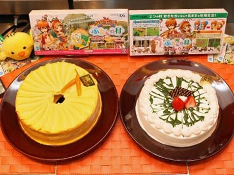 南條有香さんがプロデュースした「このはな村のニンジンシフォンケーキ」(左)と日南響子さんがプロデュースした「ブルーベリー村のヨーグルトムース抹茶風味」(右)