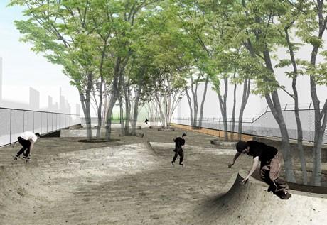「宮下NIKEパーク」来春誕生へ。写真=園内に新設するスケートボードエリアのイメージ図