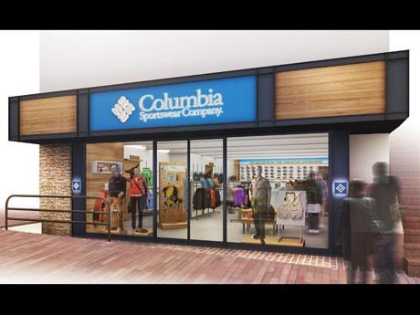 木目調を基調に米シアトルの店舗と同様のデザインを採用した「コロンビアスポーツウェア渋谷店」の外観(イメージ)