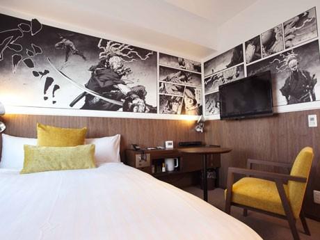 「渋谷」をテーマにしたアートを掲出した部屋などを「プレミアムルーム」を新設した「ホテルメッツ渋谷」。写真=漫画家・岡崎能士さんが手がけた客室
