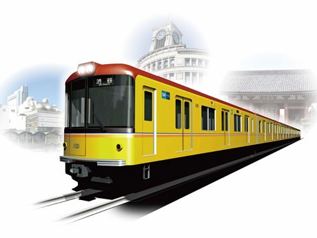 2012年から導入を開始する新型車両1000系イメージ。車体色は黄色を基調に「レトロ調」のデザイン