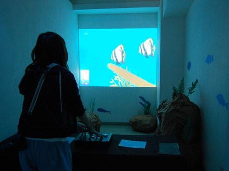 プロジェクターで壁面に映し出した仮想の「海中世界」をジョイスティックを操作することで「海中散歩体験」ができる「アクアシップ」