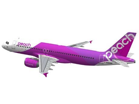 尾翼の白地のブランドロゴやピンクとフーシアで描くシンボルマークの渦巻くようなデザインが特徴の機体デザイン(写真=イメージ)