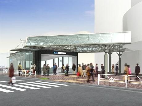 東京メトロ出口とJR西口の間に設ける連絡屋根の完成イメージ