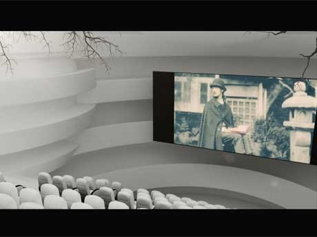 リアルな映画館同様、座席によりスクリーンの見え方が異なる「theatre tokyo」(画像=右座席から見たところ)