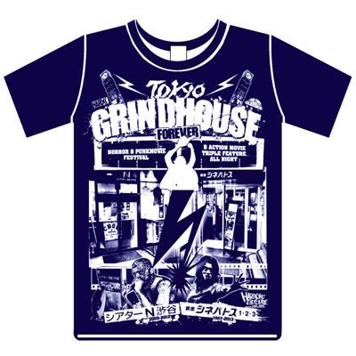 「シアターN渋谷」と「銀座シネパトス」のダブルネームTシャツ(2,900円)。シアターN渋谷では青色を販売する