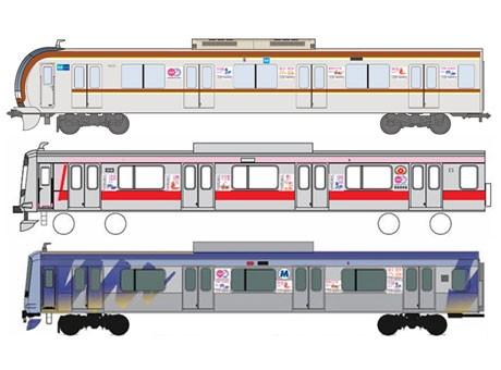 (写真上から)東京メトロ副都心線、東急東横線、横浜高速鉄道みなとみらい線