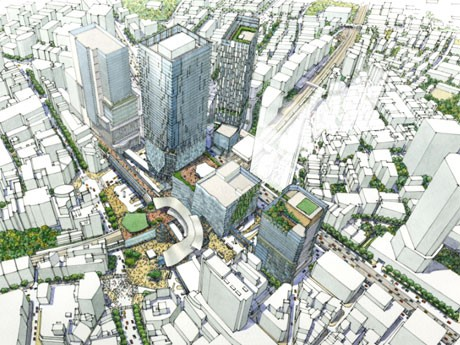 ハチ公広場付近上空から恵比寿方面を望む渋谷駅街区土地区画整理事業の完成イメージ