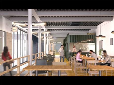 シェアオフィス入居者の共有ワークラウンジ(1階)のイメージ
