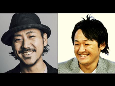 対談する創業者の家入一真さん(左)と現社長の佐藤健太郎さん(右)