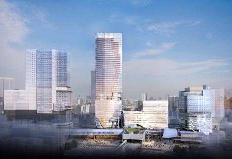 計画建物イメージ(原宿方面より)左から渋谷ヒカリエ、駅街区の東棟・中央棟・西棟、道玄坂街区