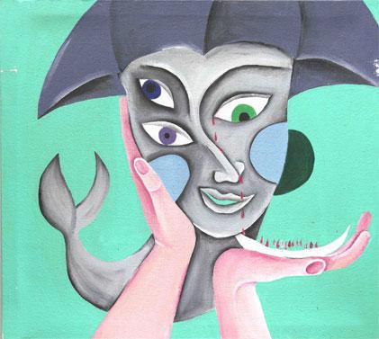 うつ病患者が制作したアート作品31点を展示する