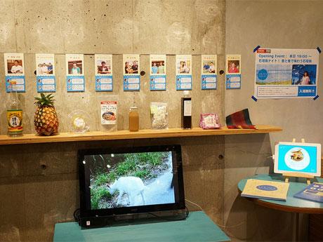 店内では石垣島の風景写真や動画を紹介するなどしている