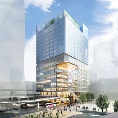 渋谷駅西口交通広場から見た「東急プラザ渋谷」跡に建設予定のビルのイメージ