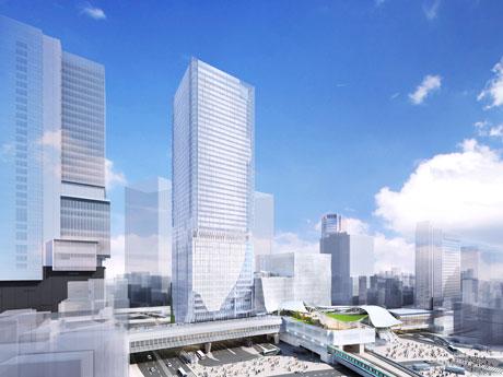 宮益坂交差点方面から望む全体の完成。中央の高層ビルが東棟で左が渋谷ヒカリエ