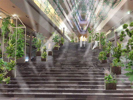 植物などを展示うる会場イメージ。天井からはフィンランドの伝統装飾品「ヒンメリ」をつるす