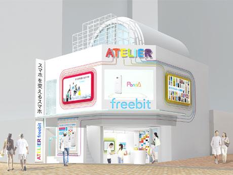 白を基調に虹色(7色)を取り入れる店舗外観
