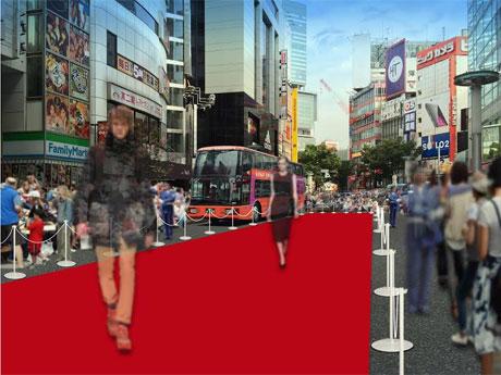 文化村通りを規制して行うファッションショーのイメージ