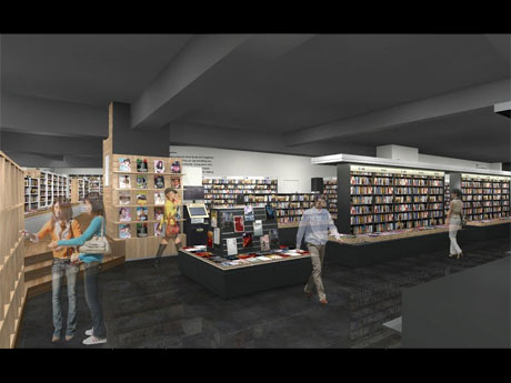 ファッションやアート関連書棚を展開する公園通り側から入ったエリアのイメージ