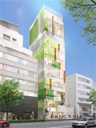 明治通り沿いで開発が進む「キュープラザ原宿」の外観イメージ