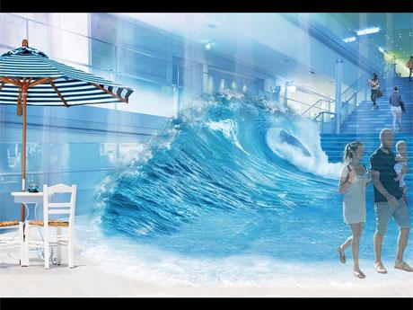 波のオブジェなどを設置する吹き抜け大階段のイメージ