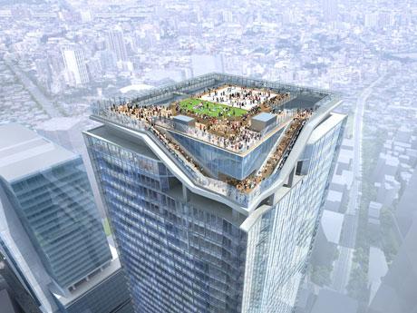 渋谷ヒカリエ(写真左手)より高い約230メートルに位置する屋外展望施設のイメージ