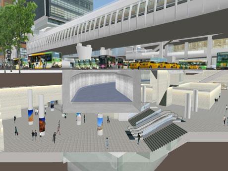 渋谷川の下に地下広場を作る東口地下の整備イメージ。「渋谷駅街区土地区画整理事業共同施行者」提供