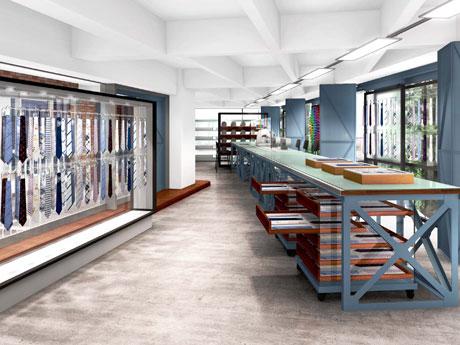 ミシンを設置して縫製職人の作業風景を見られるようにする店内イメージ