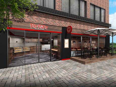 ブランドカラーの赤と木目を基調にする店舗外観イメージ