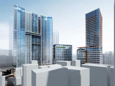 渋谷区文化総合センター大和田からのぞむ完成イメージ。左からA-1棟、A-2棟、B棟