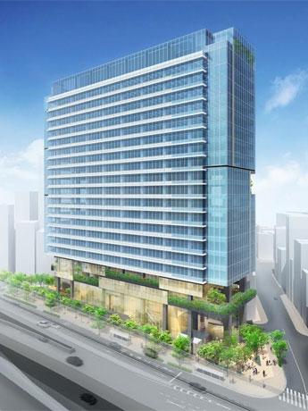 首都高速3号渋谷線側からのぞむ新築ビルの外観イメージ