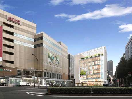 外観イメージ。中央奥の建物が新しい商業施設